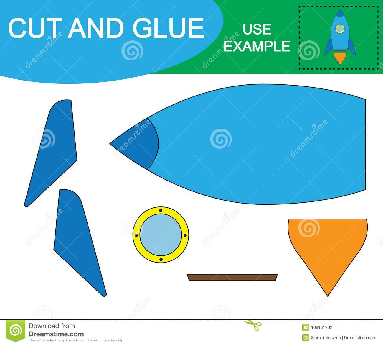 Cut And Glue To Create Space Rocket Air Transport Stock