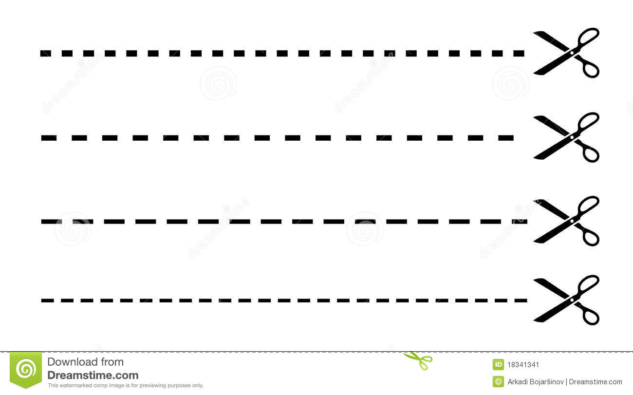 Cut Lines With Scissors Stock Vector Illustration Of