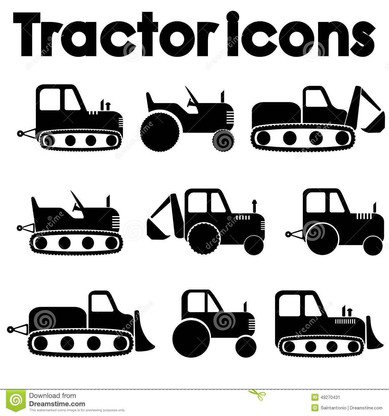 Cut Out Black Various Tractor And Construction Machinery