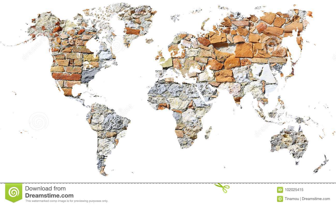 World Map Cut Out In Ancient Wall Made Of Bricks And