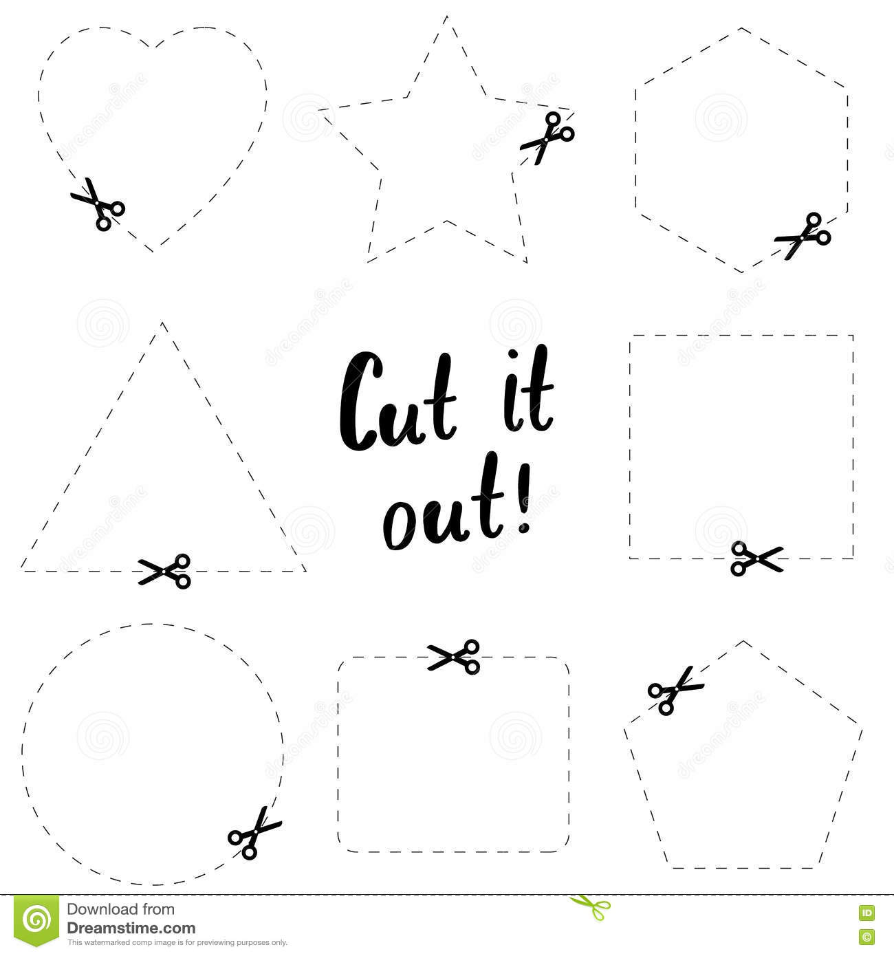 Cut It Out Flat Template The Scissors Icon Cut Here