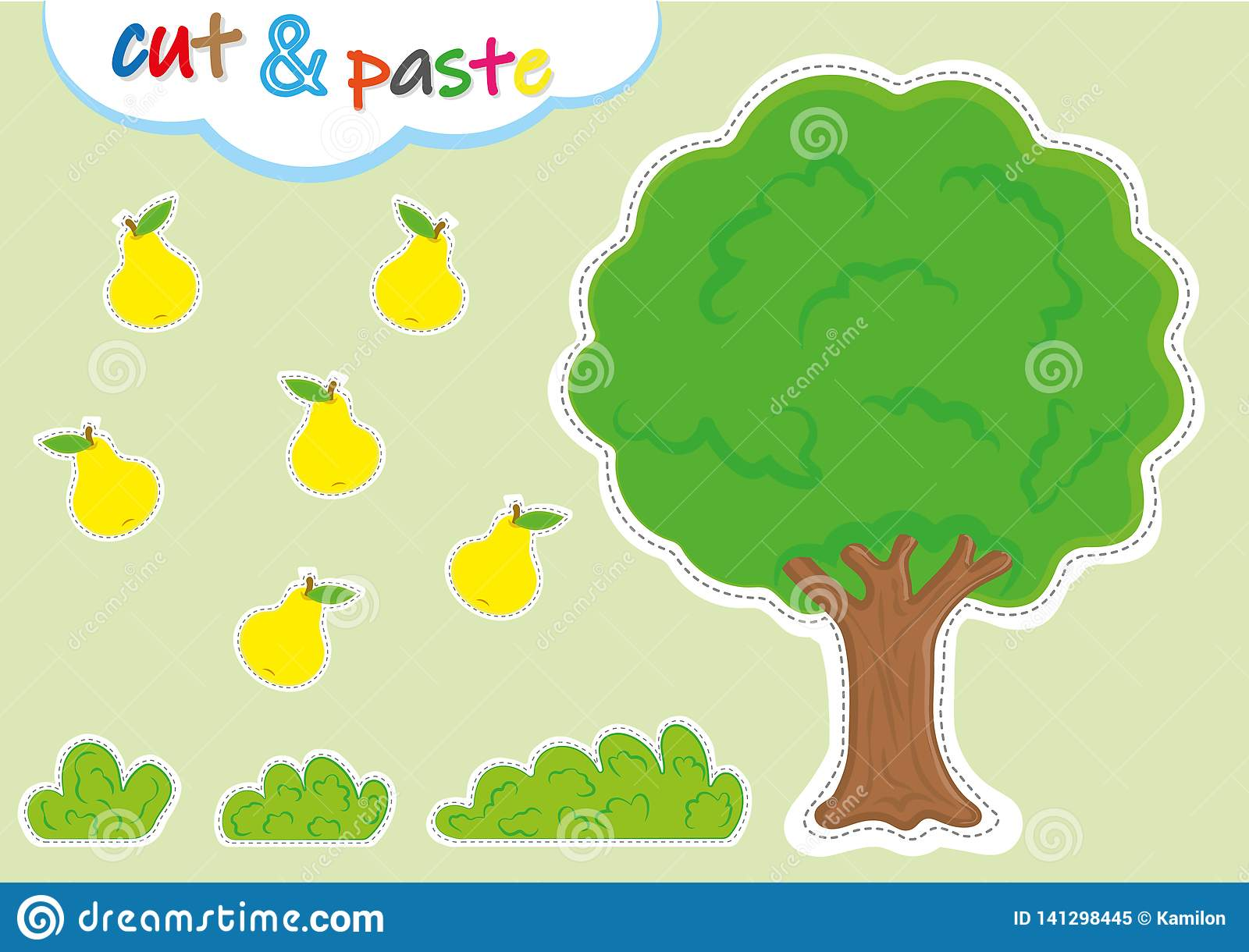Cut And Paste Activities For Kindergarten Preschool Cutting And Pasting Worksheets Stock