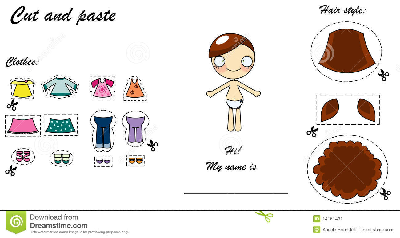 Cut And Paste Dress Doll Stock Image