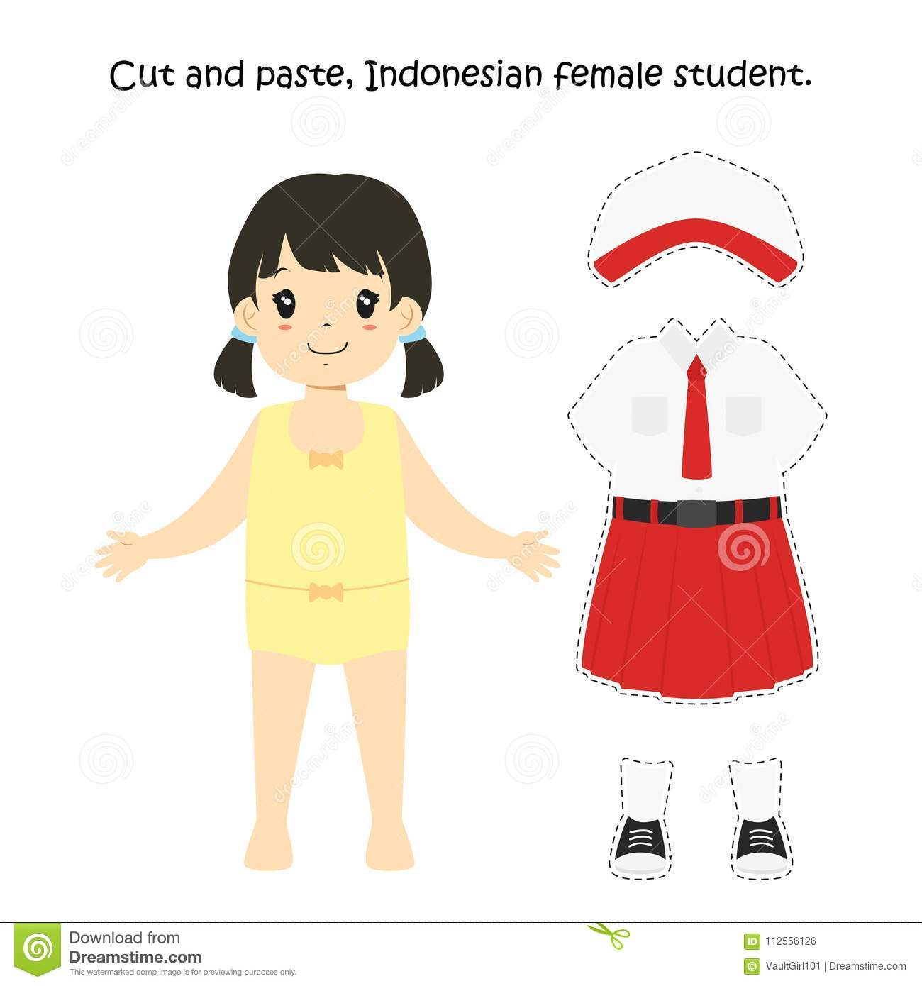 Cut And Paste Indonesische Vrouwelijke Student Uniform