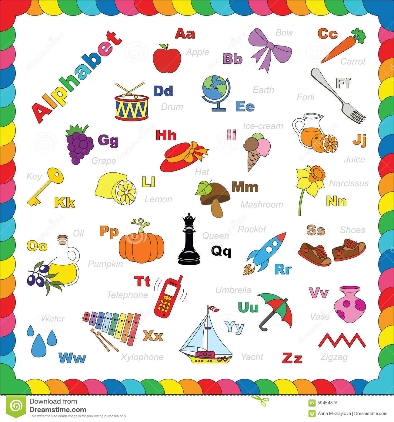 Cute Alphabet In Vector Objects Stock Vector