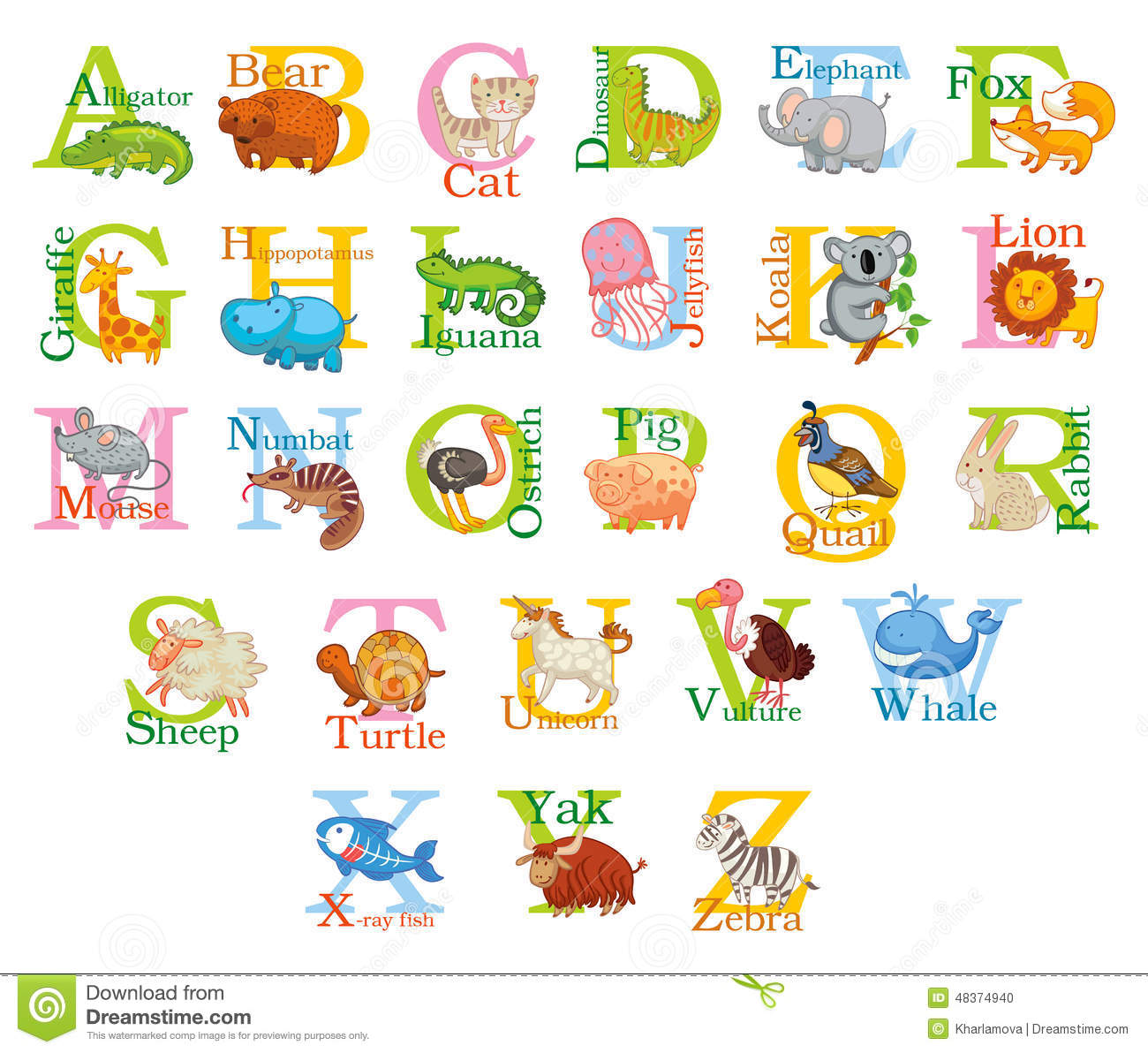 Cute Animal Alphabet Stock Vector Image Of Giraffe