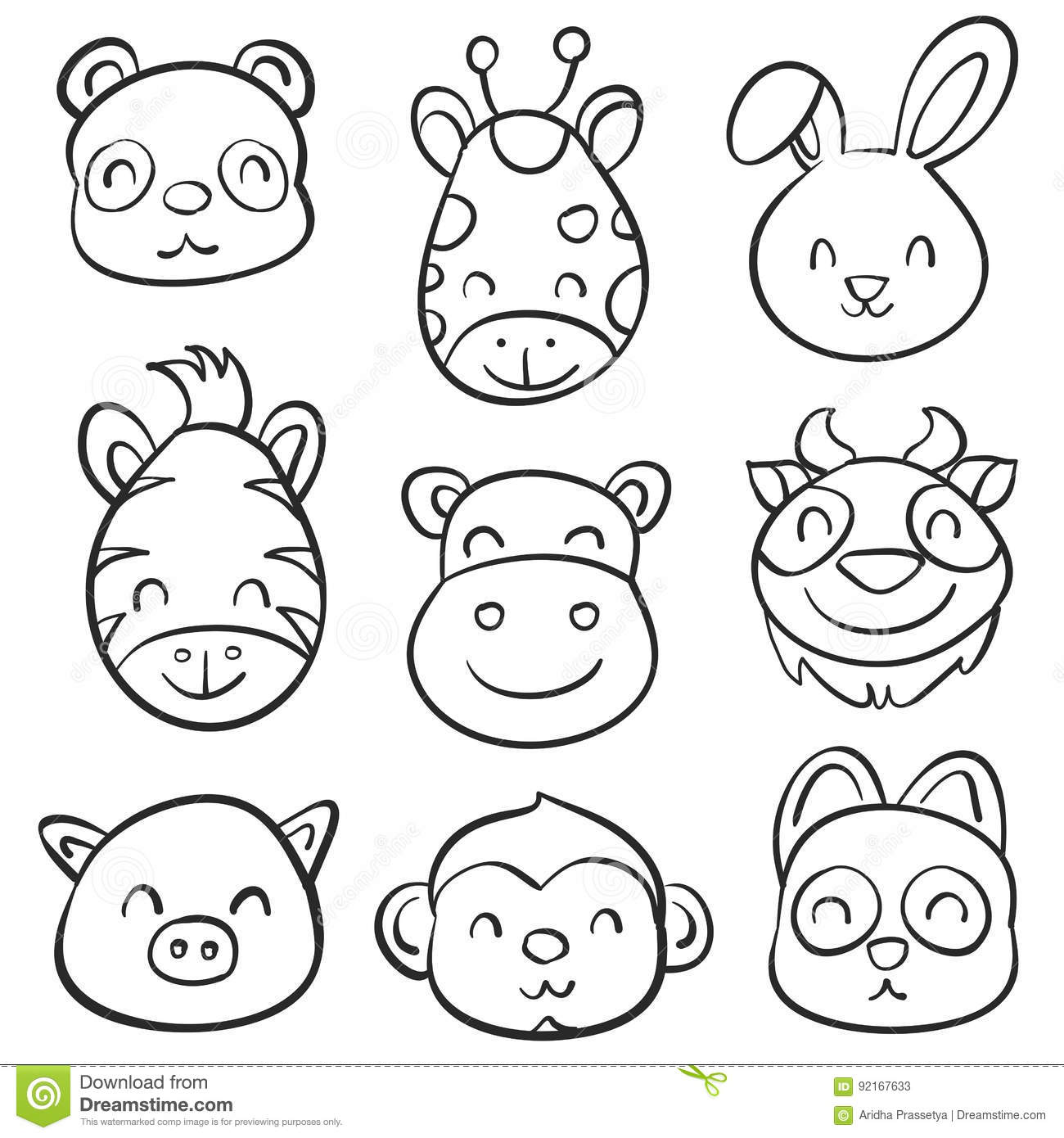Cute Animal Hand Draw Doodle Collection Stock Vector