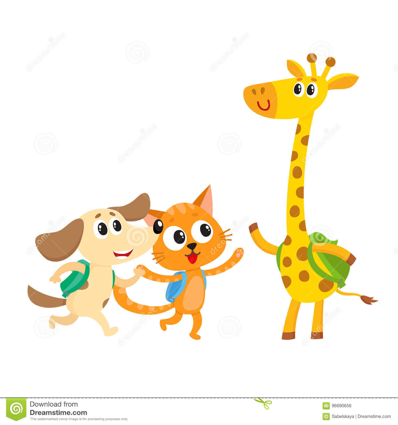Cute Animal Student Characters Cat Dog And Giraffe With