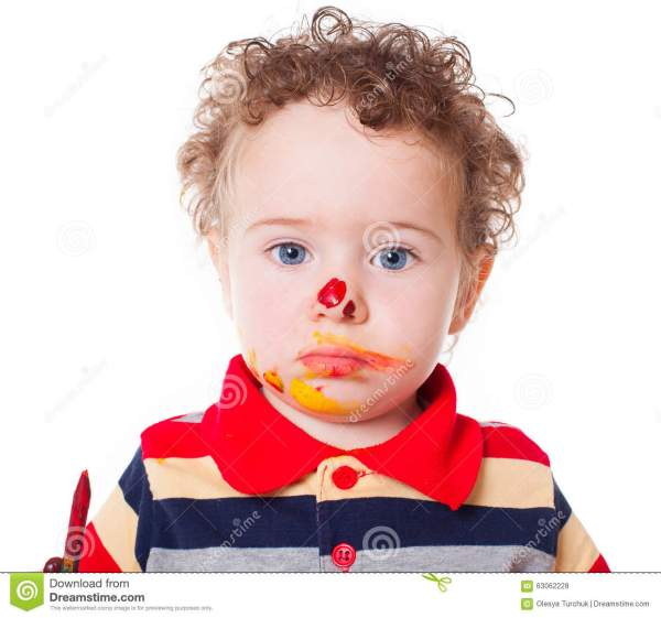 Cute Happy Baby Boy Playing With Paints Royalty-Free Stock ...