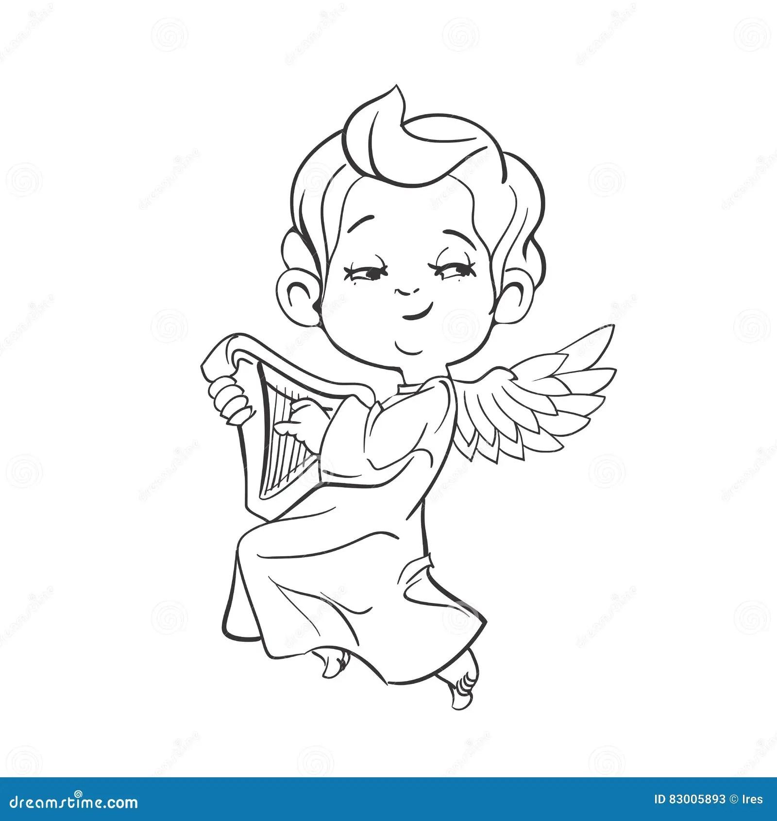 Cute Baby Angel Making Music Playing Harp Stock Vector