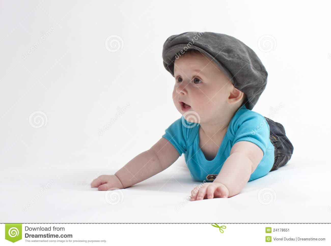 cute baby with flat cap stock image. image of looking - 24178651