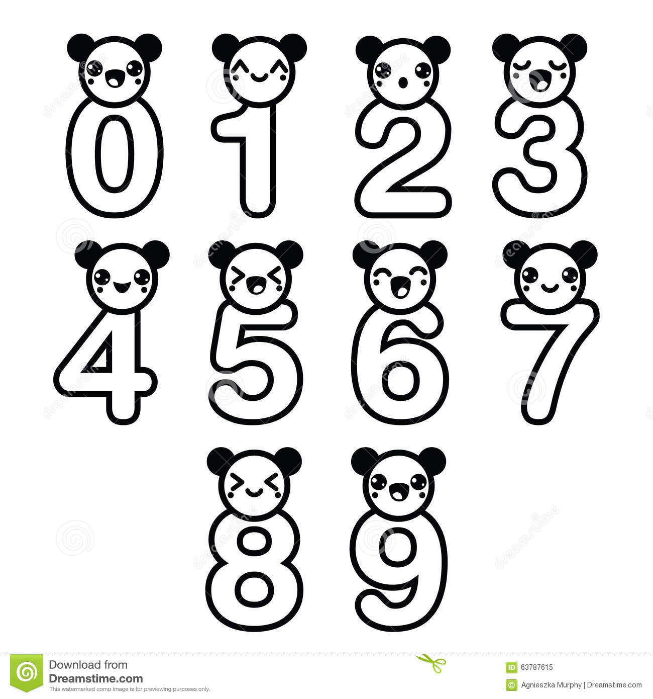 Cute Bear Kawaii Numbers Set