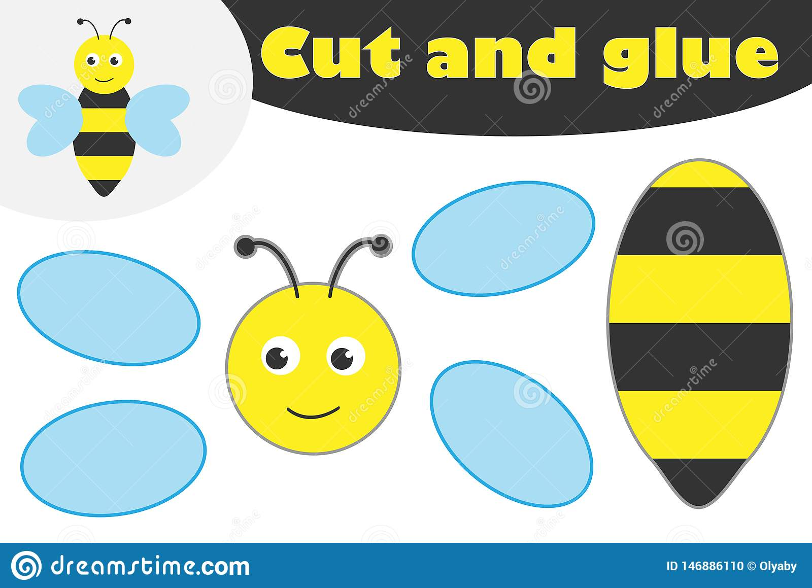 Cute Bee In Cartoon Style Education Game For The