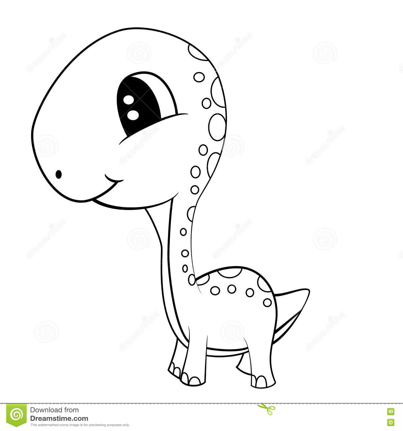 Cute Black And White Cartoon Of Baby Brontosaurus Dinosaur