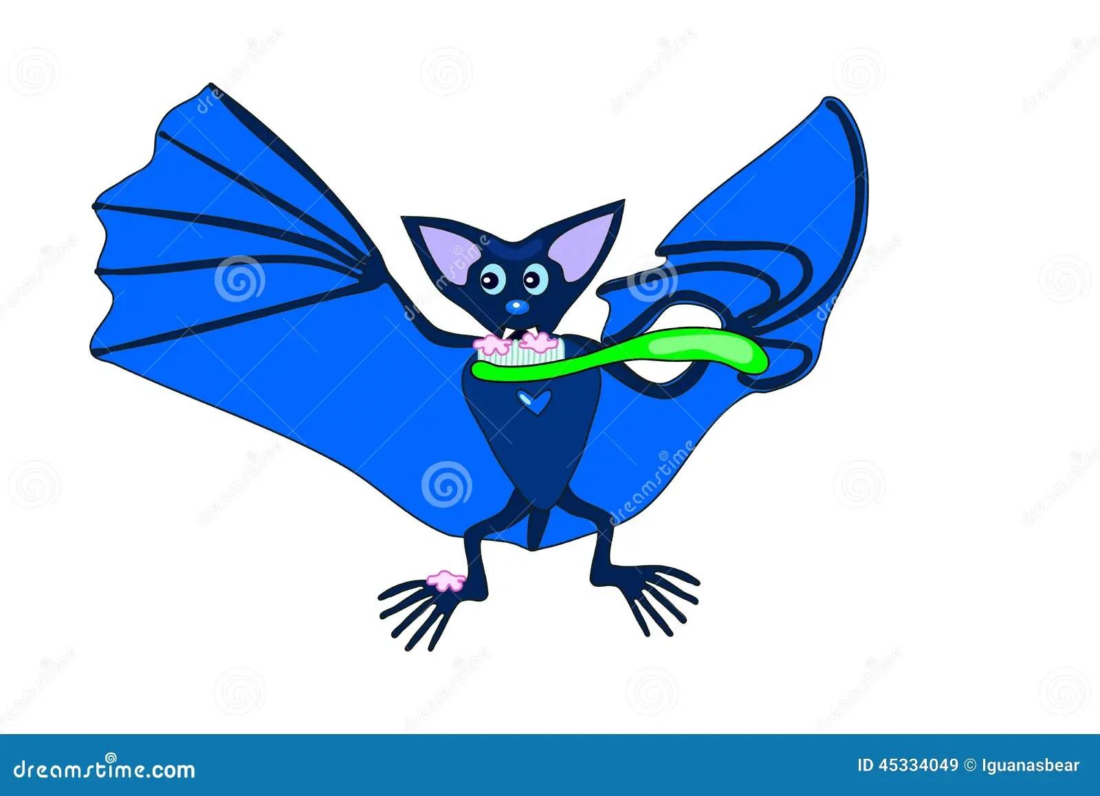 Cute Blue Bat Brushing Teeth Stock Vector