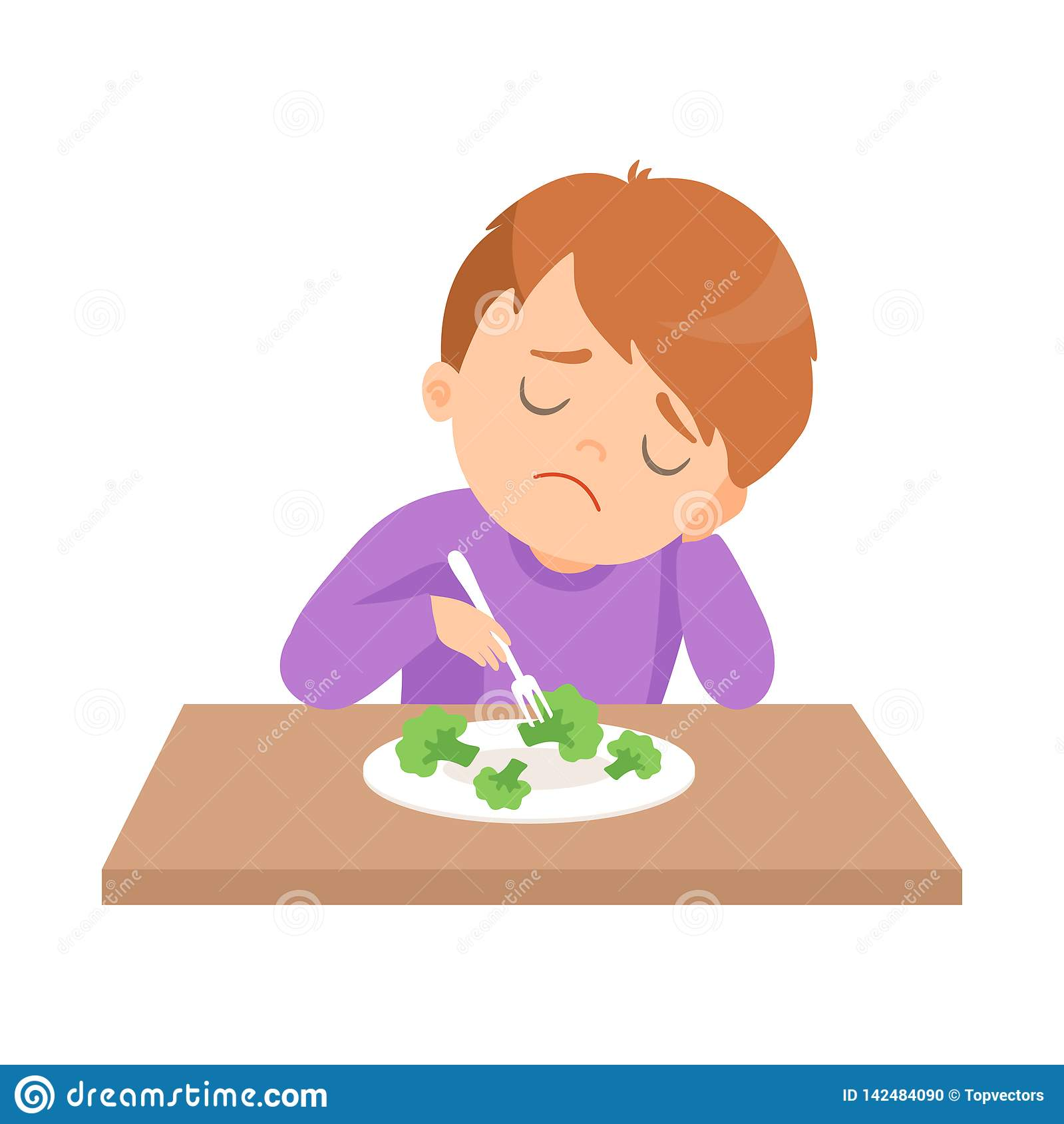 Cute Boy Does Not Want To Eat Broccoli Kid Does Not Like