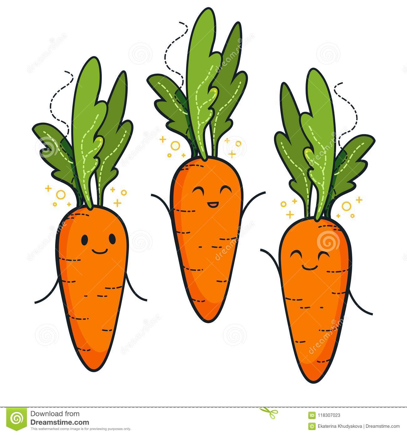 Cute Carrot Characters Stock Illustration Illustration