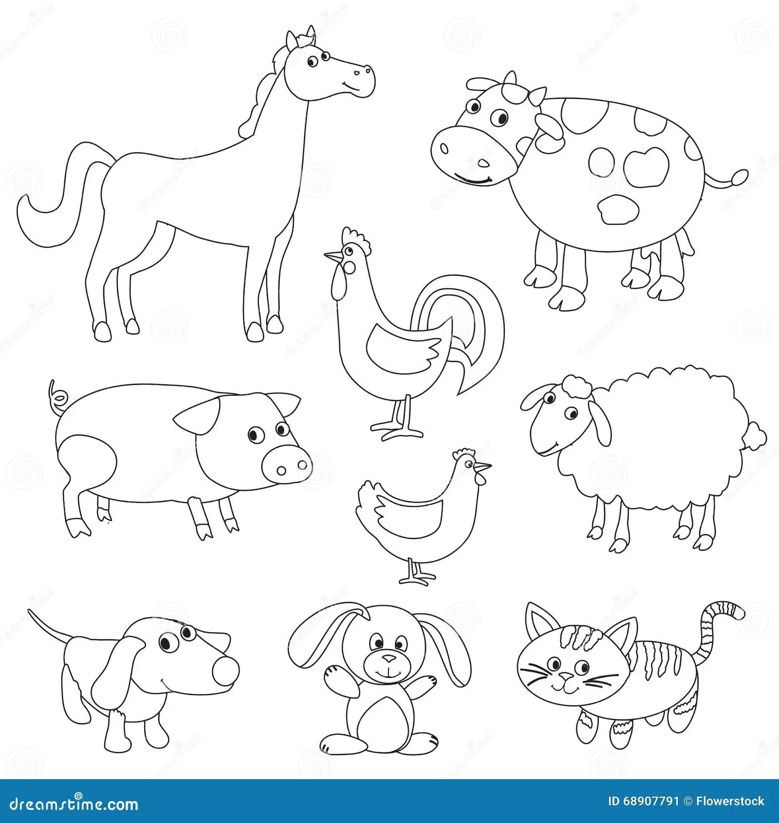 Cute Cartoon Farm Animals And Birds For Coloring Book Stock Vector