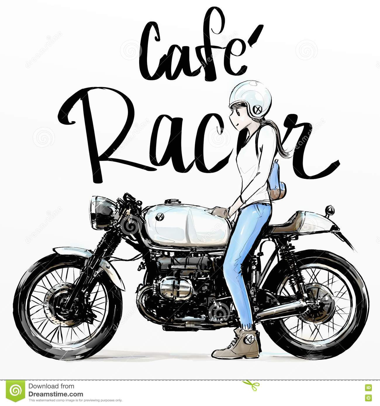 Cute Girl Riding Motorcycle Royalty Free Stock Photography