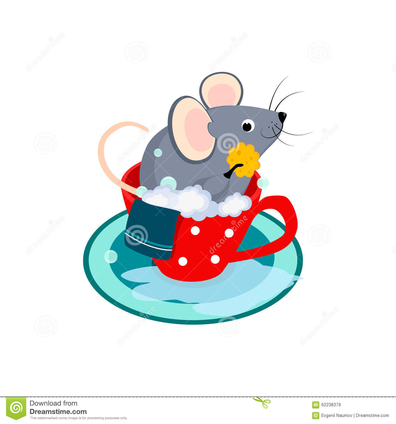 Cute Cartoon Mouse In The Bath Of Cup Vector Stock Vector