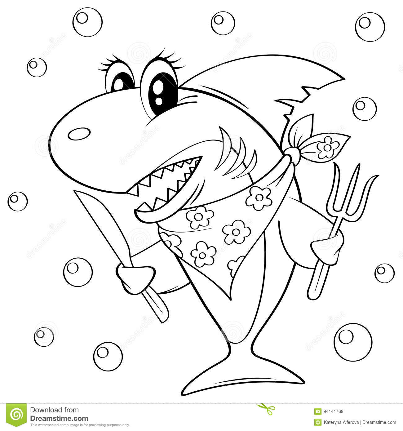 Cute Cartoon Shark With Fork And Knife Black And White