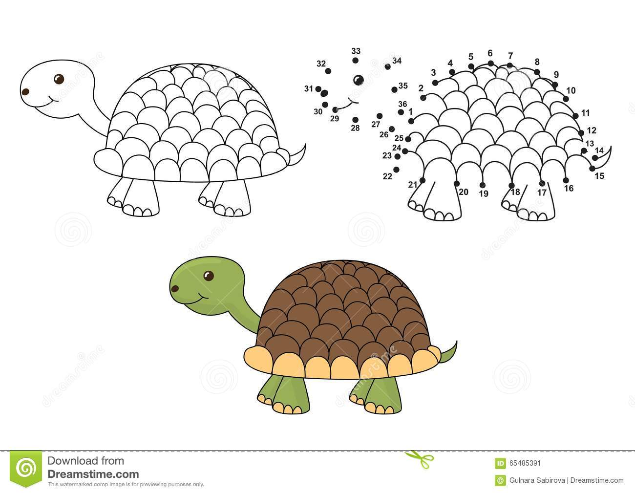 Cute Cartoon Turtle Coloring And Dot To Dot Educational