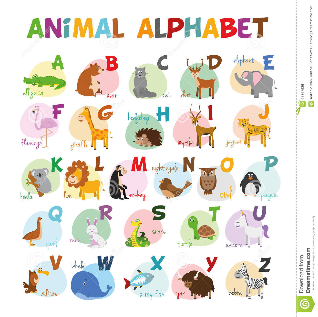 Cute Cartoon Zoo Illustrated Alphabet With Funny Animals