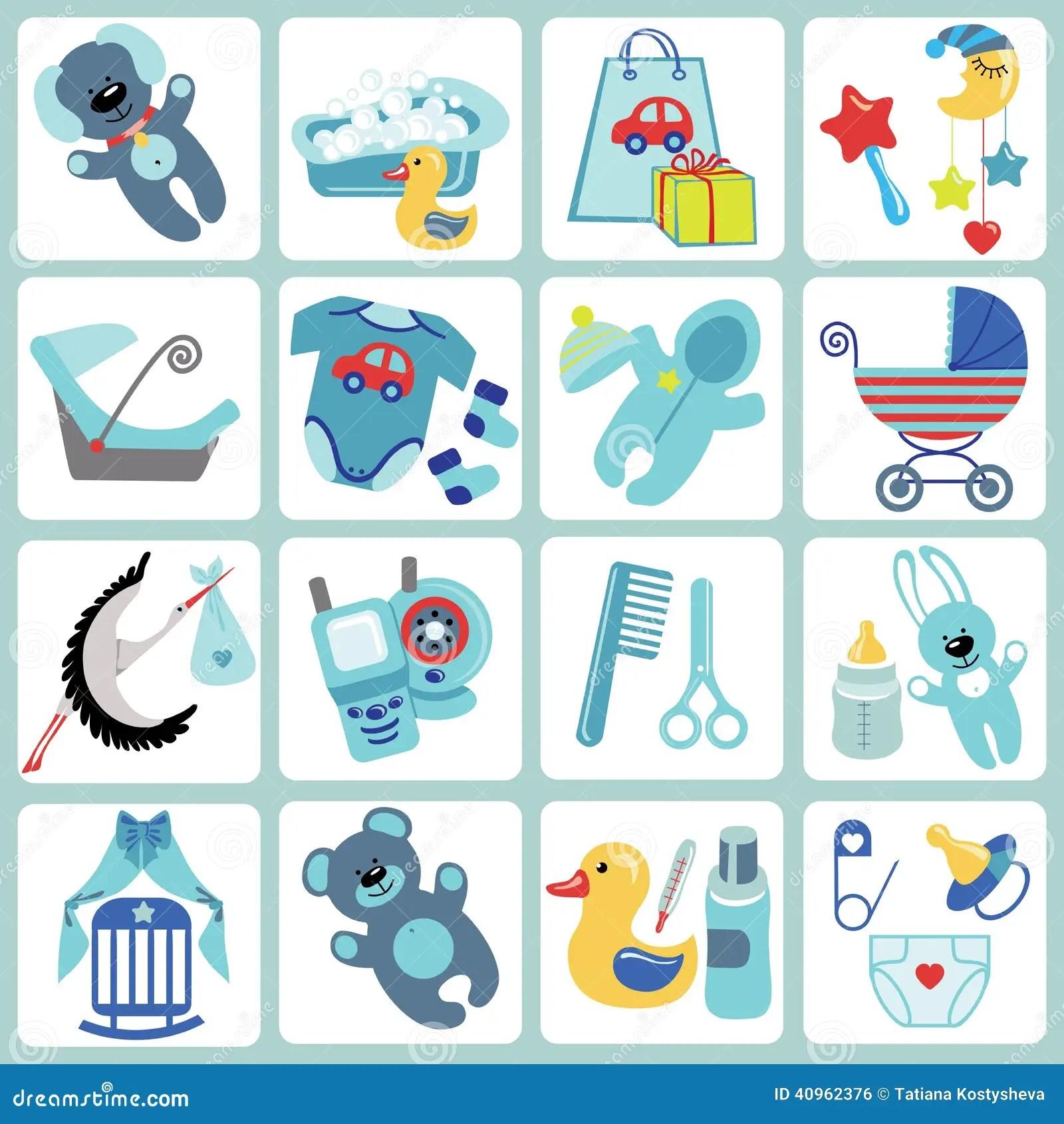 Cute Cartoons Icons For Baby Boywborn Set Stock Vector