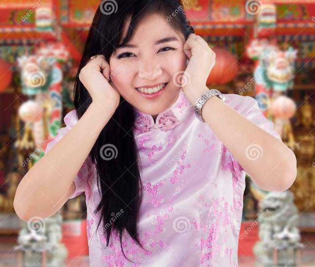 Cute Chinese Girl In The Temple