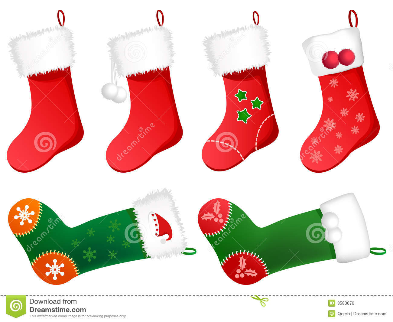 Cute Christmas Stockings Stock Photo