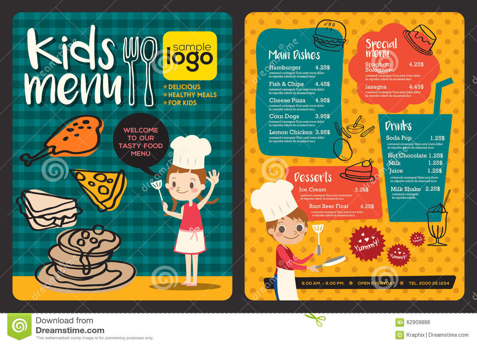 Cute Colorful Kids Meal Menu Template Stock Vector