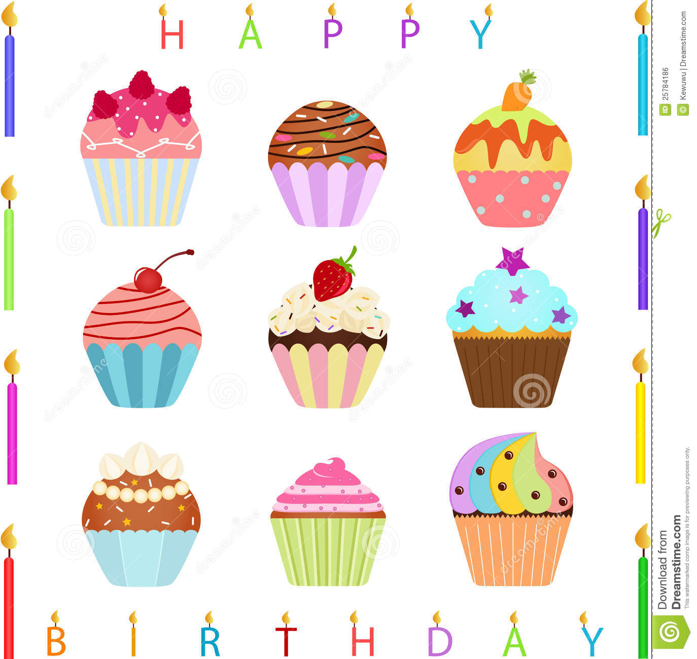 Cute Cupcake With Happy Birthday Candles Stock Vector