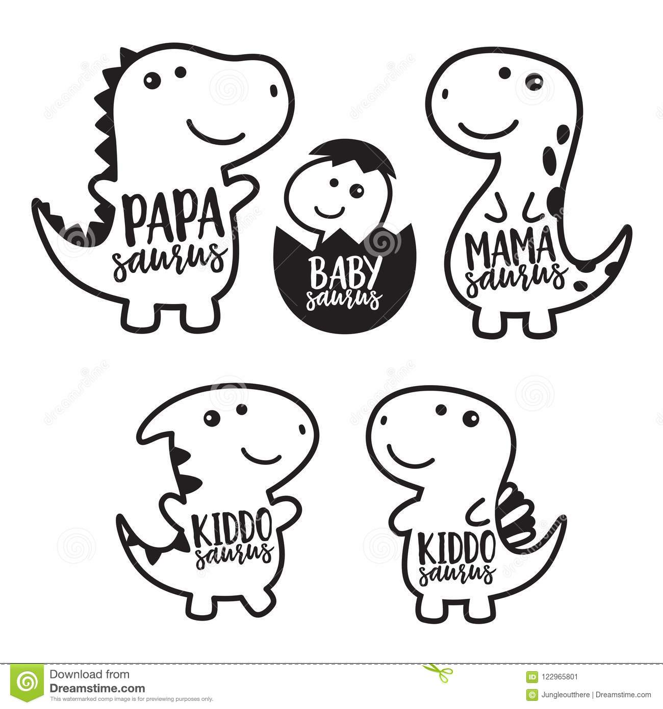 Cute Dinosaur Family Character Vector Illustration Stock