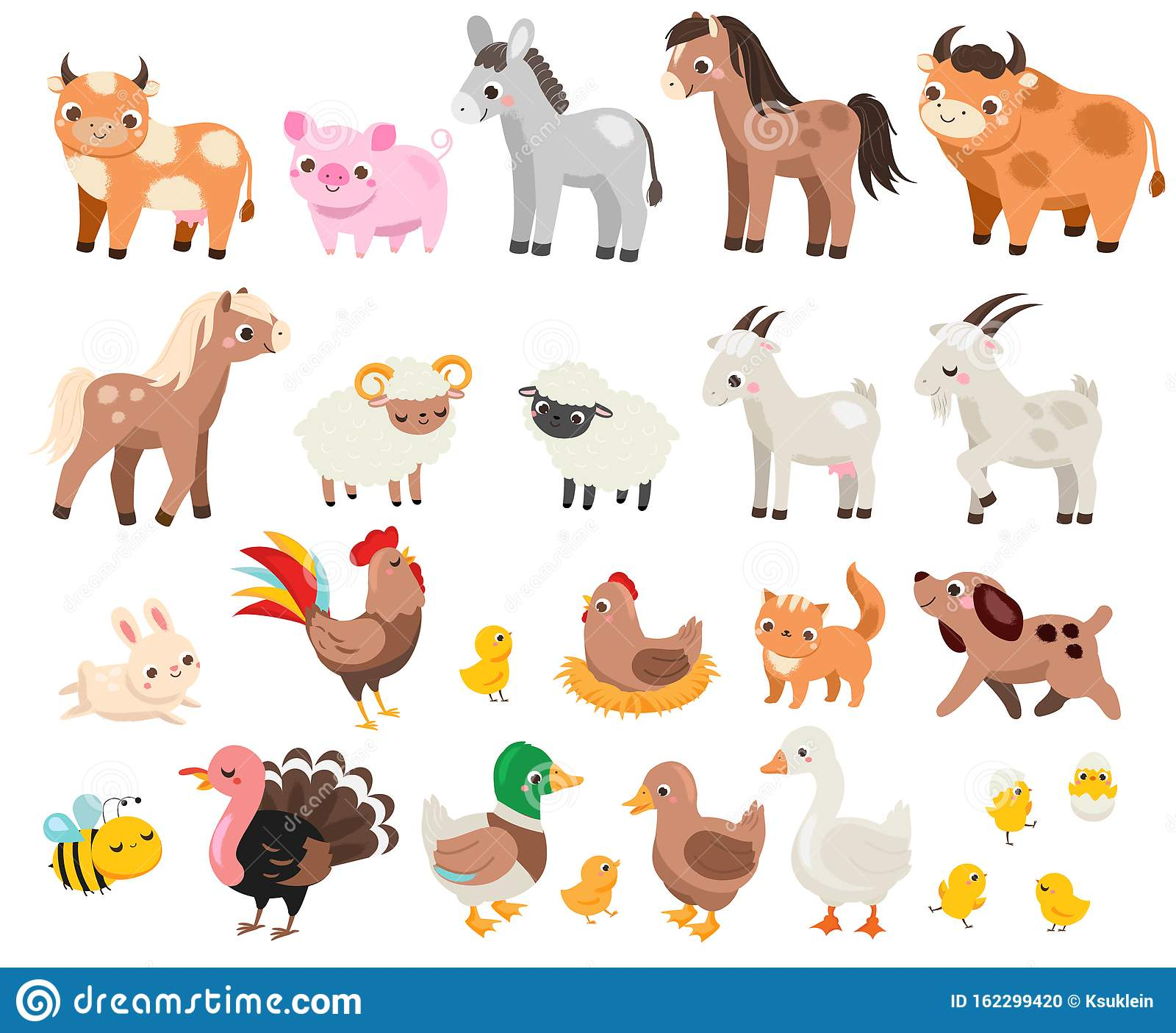 Cute Farm Big Set Of Cartoon Farm Animals And Pets For