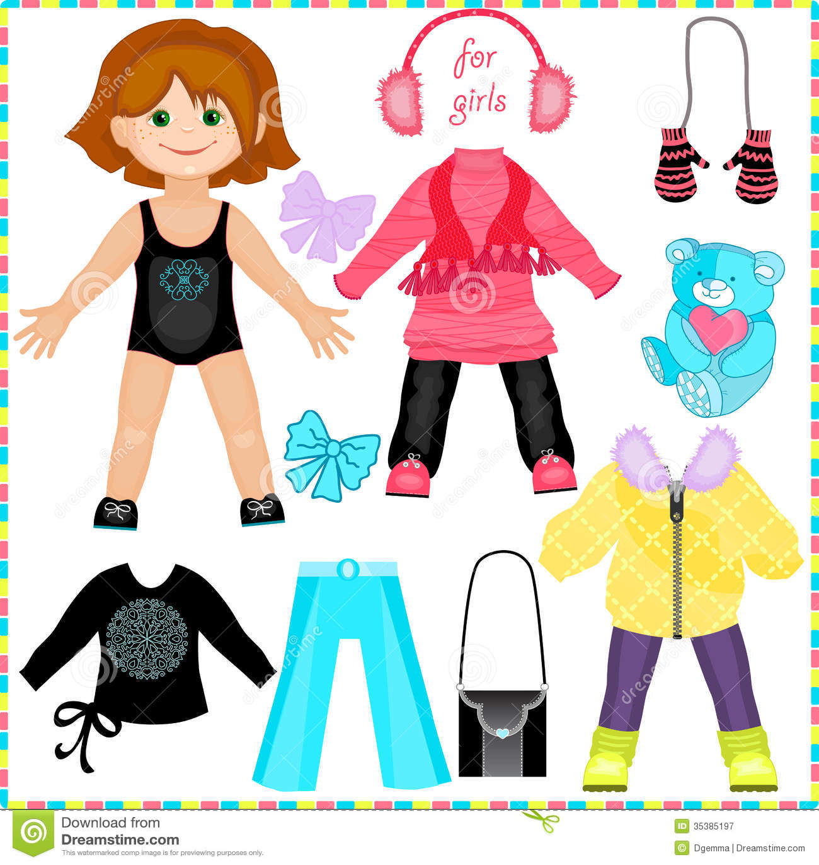 Cute Fashion Girl Stock Vector Illustration Of Children