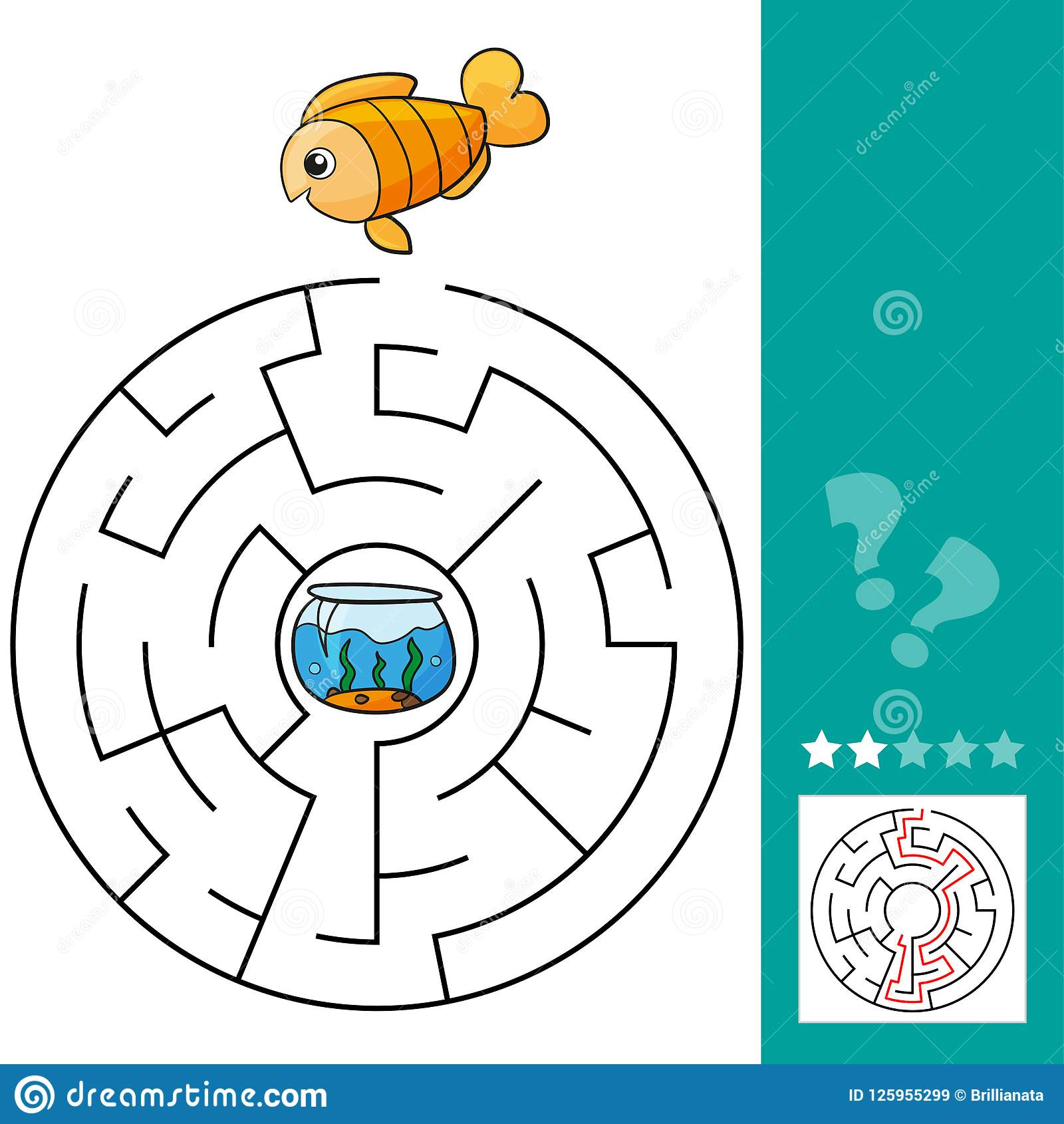 Cute Fish Educational Maze Game Vector Illustration Of