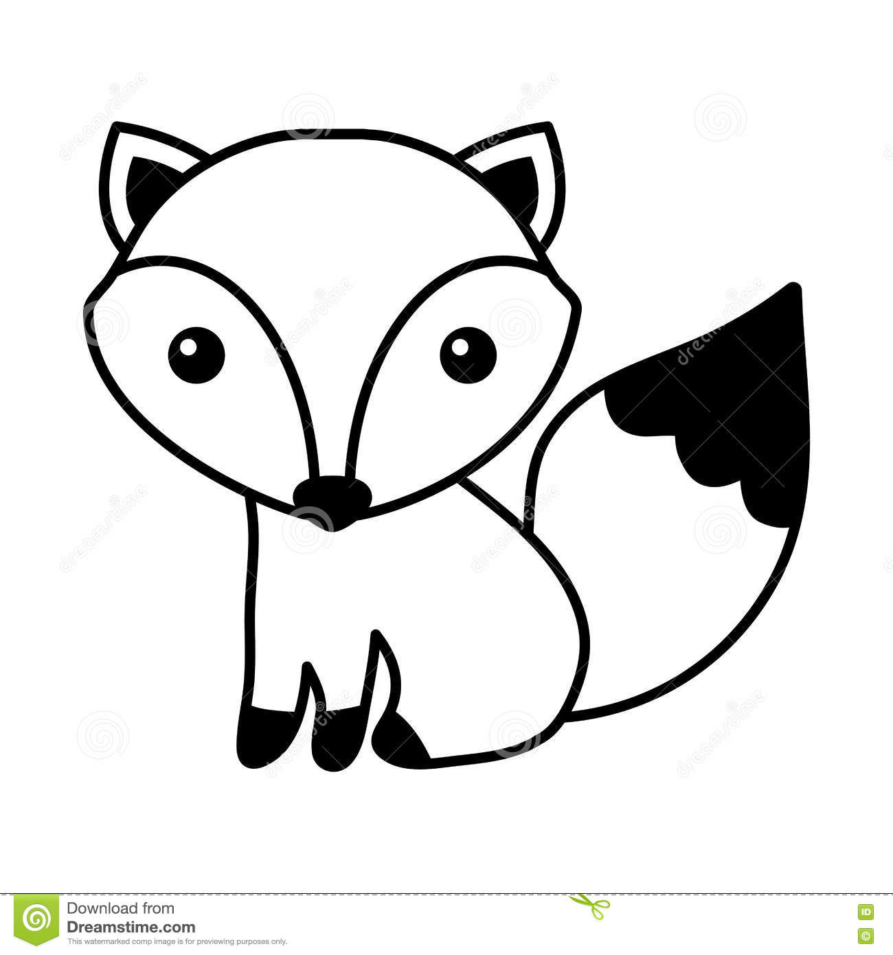 Cute Fox Isolated Icon Stock Vector Illustration Of