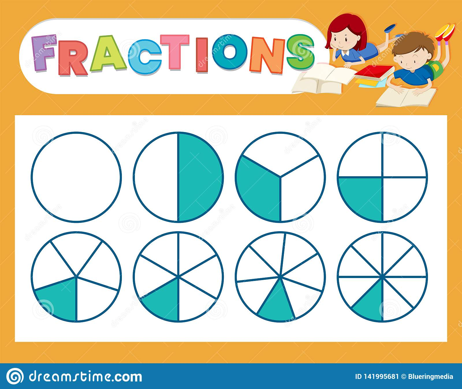 A Cute Fraction Worksheet Stock Vector Illustration Of