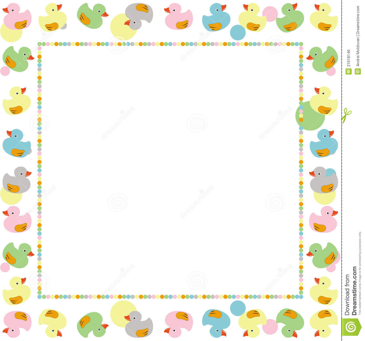 Cute Frame For Children Made With Ducks Vector Royalty
