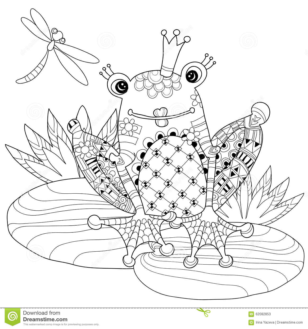 Cute Frog Prince In Crown With Lotus Stock Vector