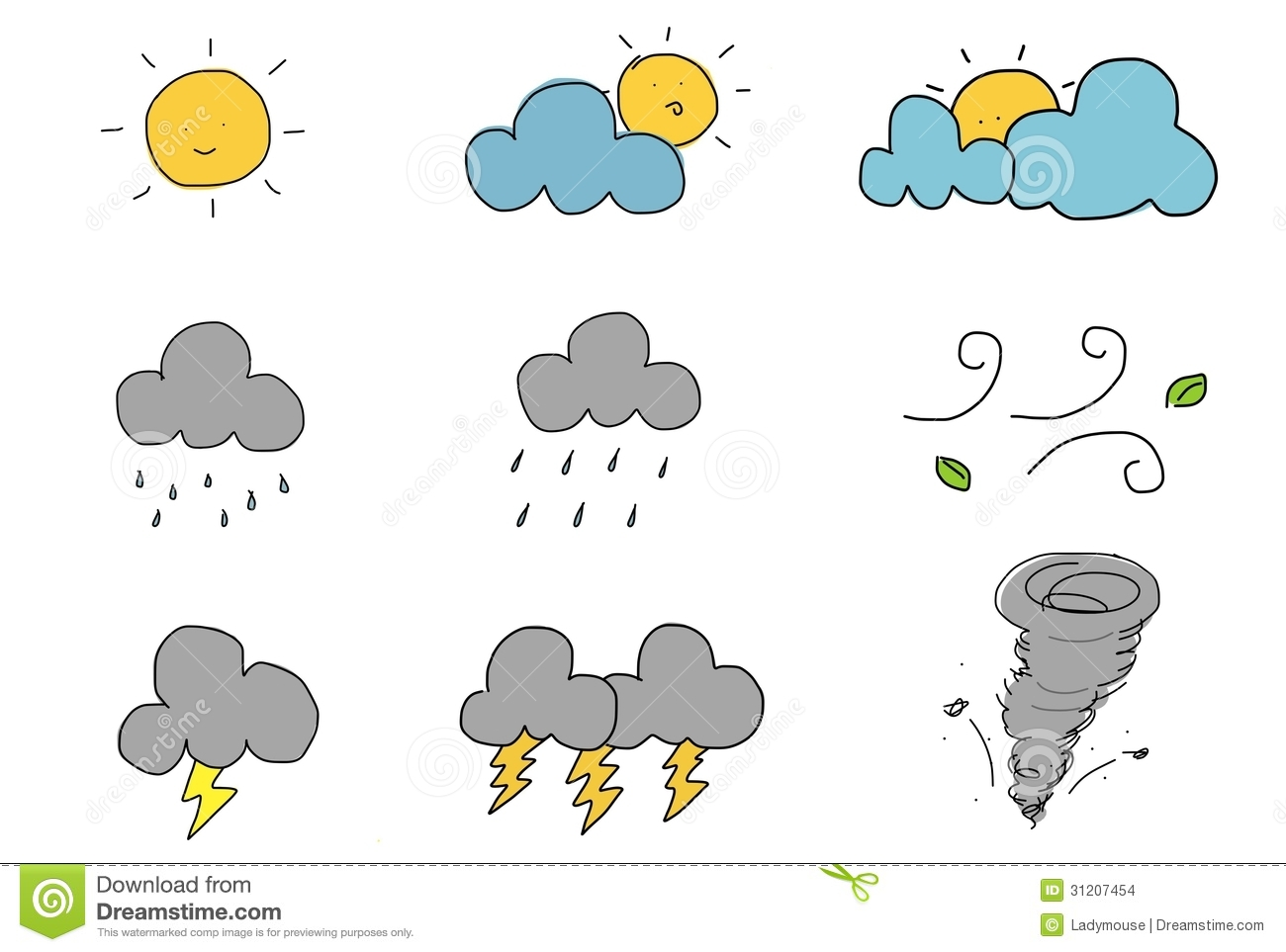 Cute Hand Draw Weather Icon Stock Illustration