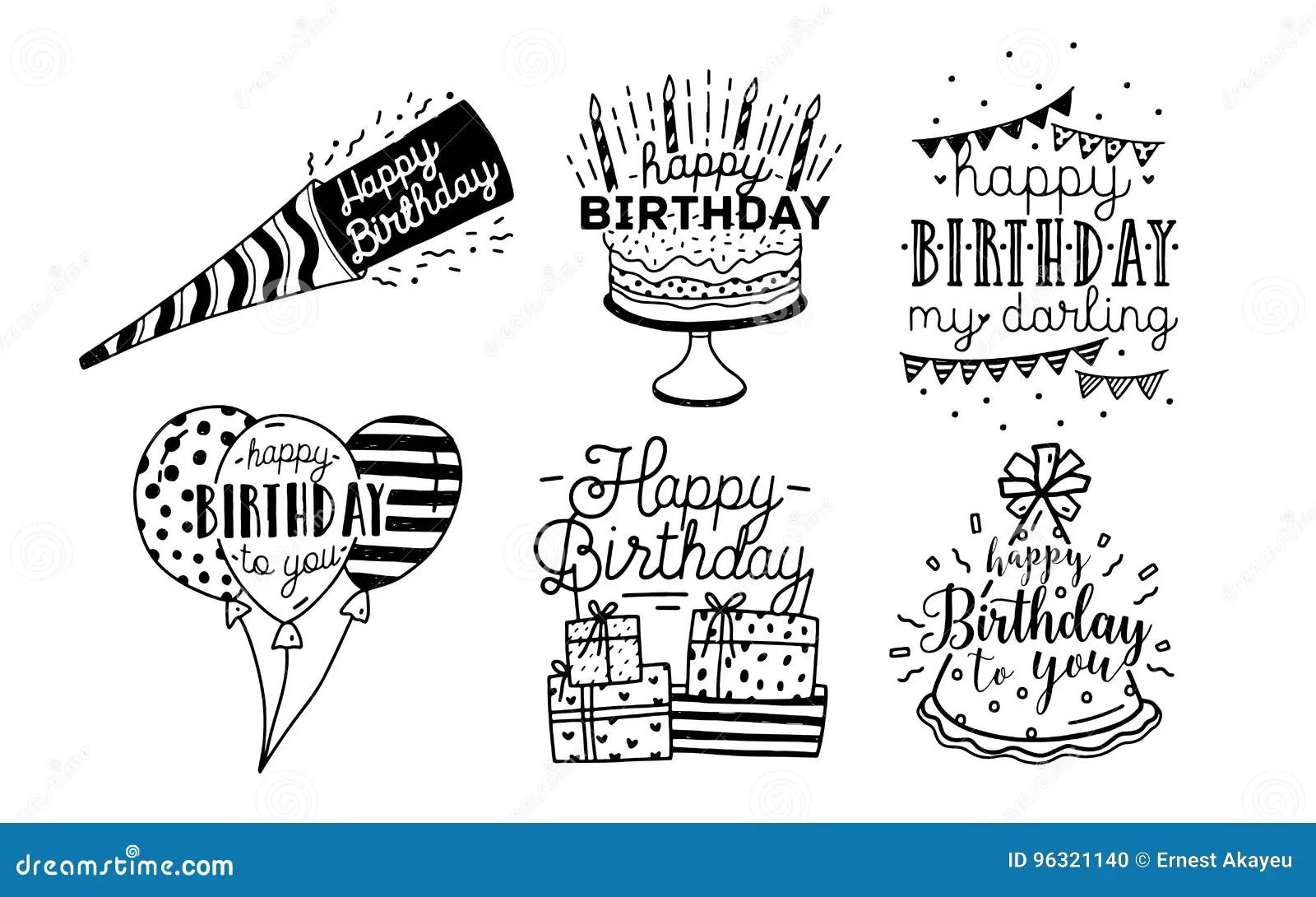 Cute Happy Birthday Greetings Inscriptions Design