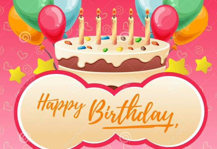 Cute Happy Birthday Lettering With Big Cake Stock Vector