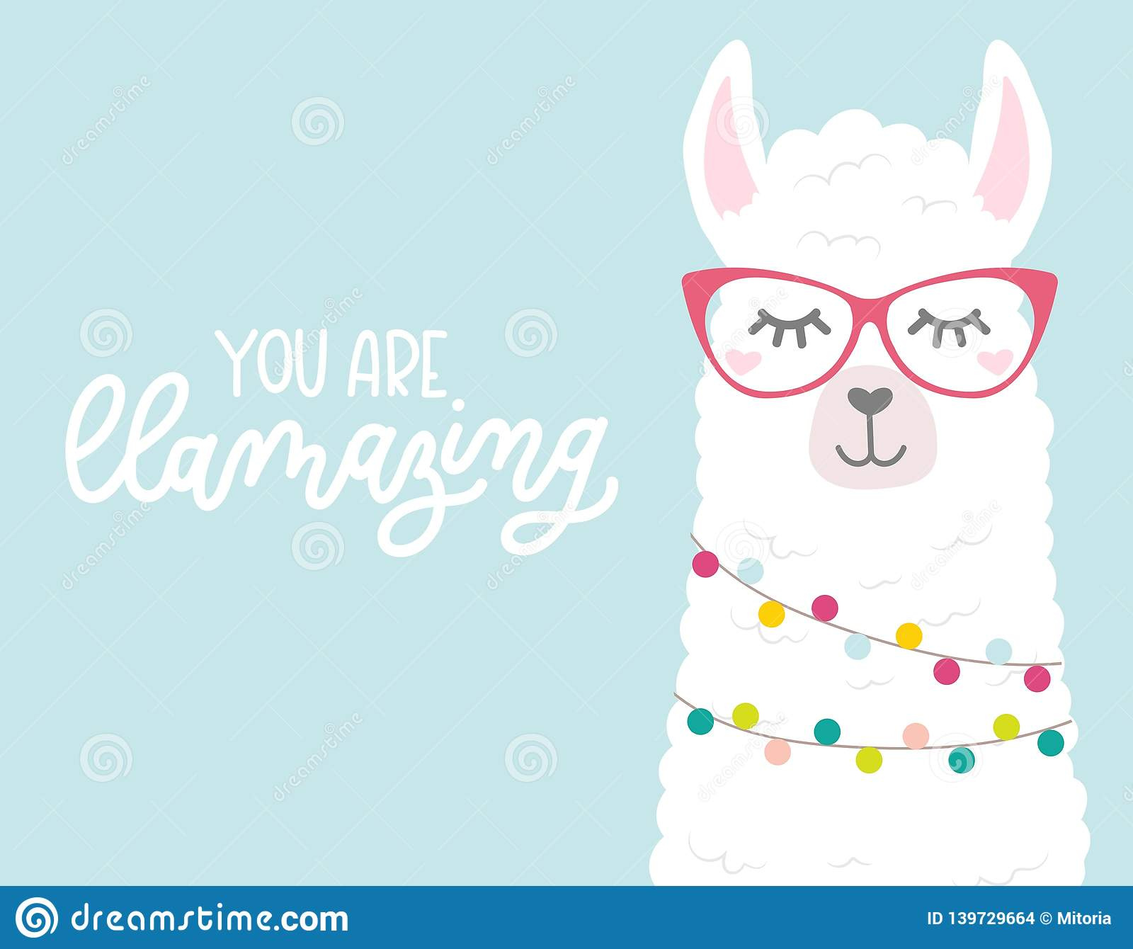 Cute Illustration With Llamas In Love Doodles And
