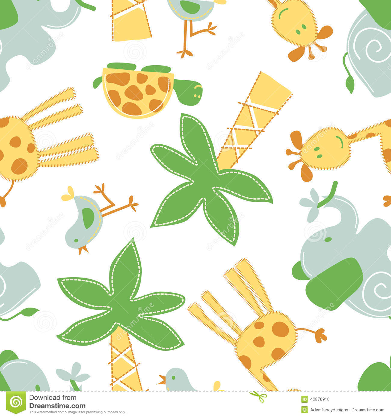 Cute Jungle Animals In A Seamless Pattern Stock Vector