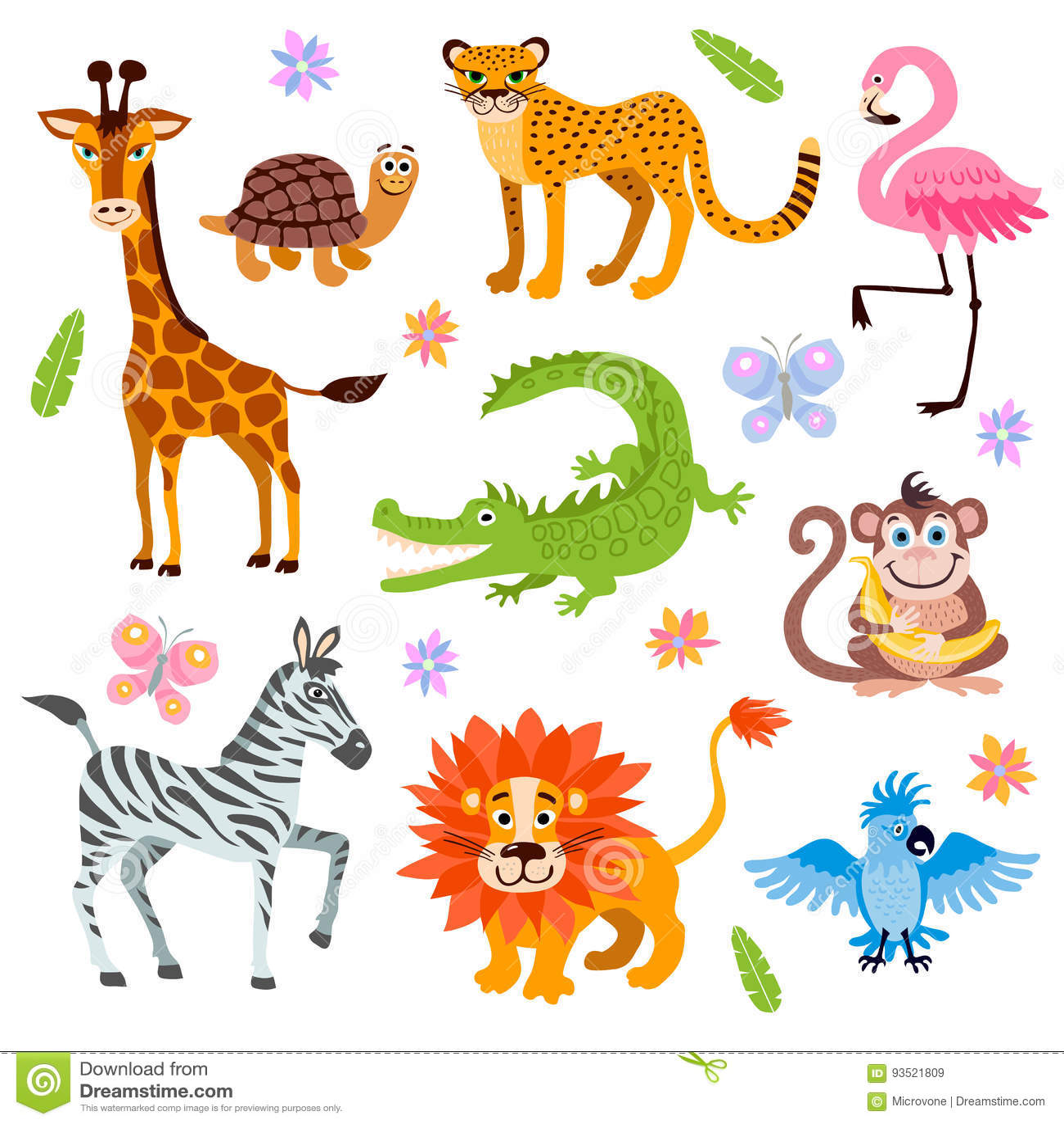 Cute Jungle And Safari Animals Vector Set For Kids Book