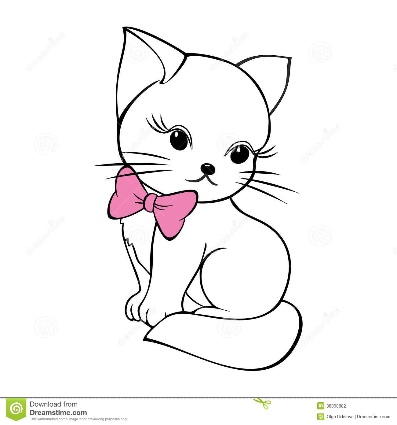Cute Kitty With Bow Stock Vector Image Of Feline