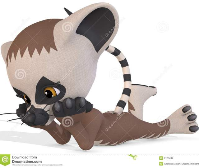 3 D Render Of An Cute Lemur Toon Figure