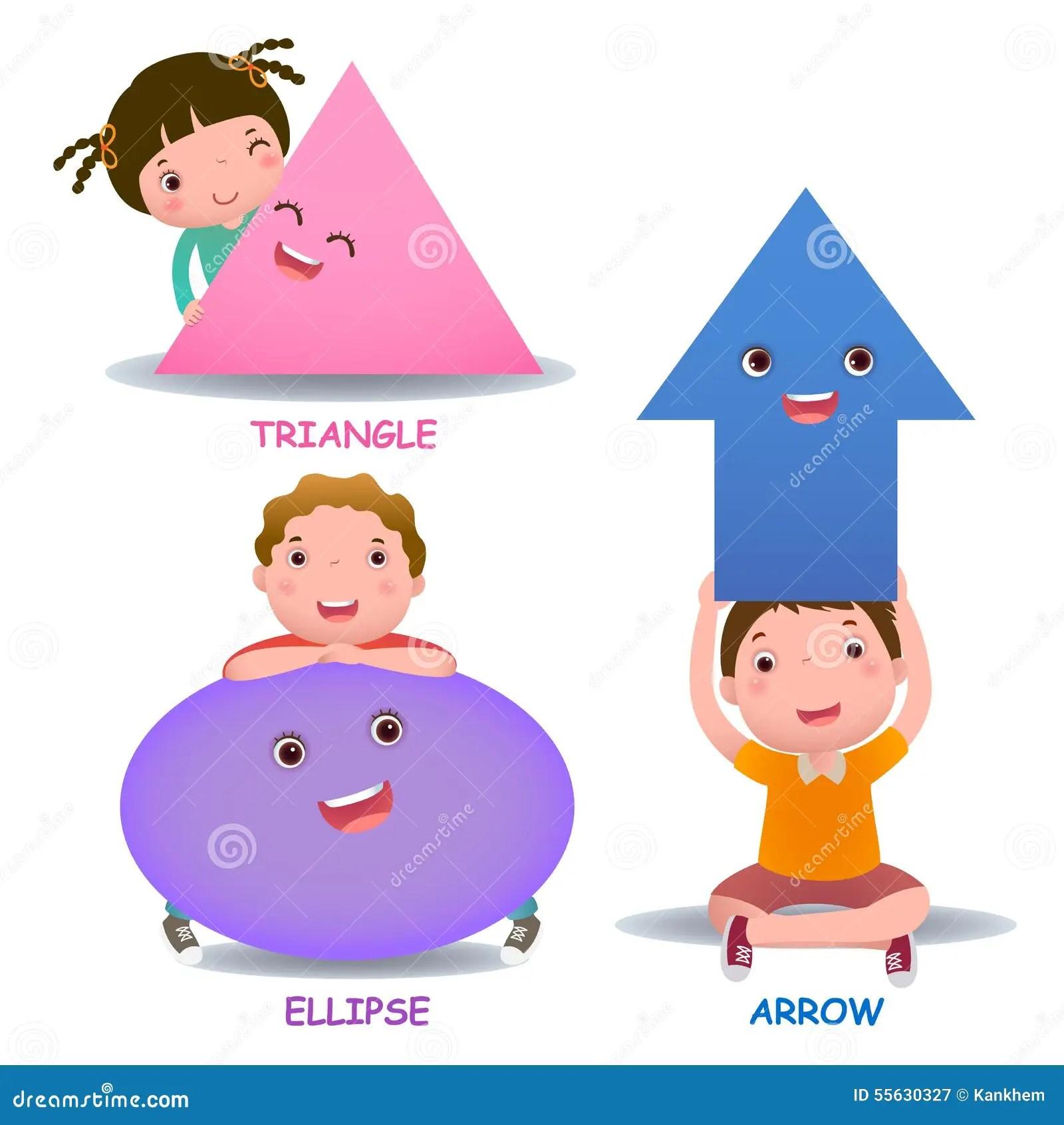 Cute Little Cartoon Kids With Basic Shapes Ellipse Arrow