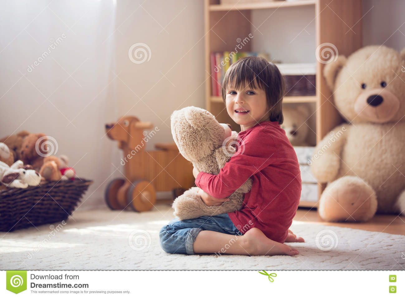 Cute Little Child Preschool Boy Playing With Teddy Bear